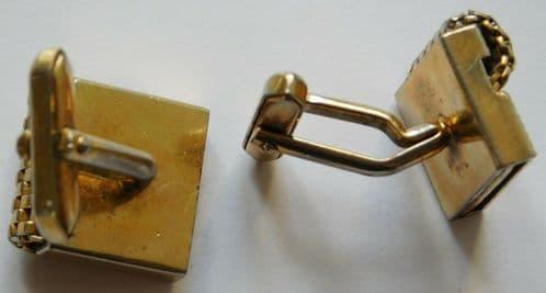 Vintage cufflinks with mesh design gold coloured metal 1960s 1970s jn